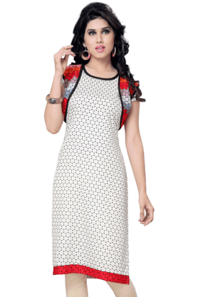 DEMARCA Womens Printed Kurta (Buy Any Demarca Product & Get A Pair Of Matching Earrings Free) - 200936893