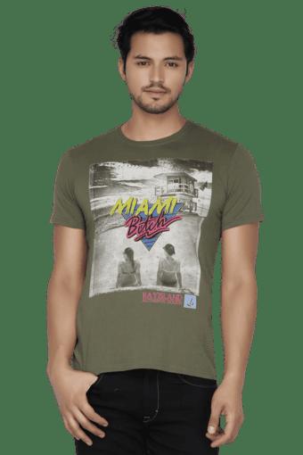 Mens Short Sleeves V Neck Slim Fit Printed T-Shirt