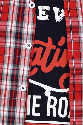 Boys Checked Casual Shirt with Tee