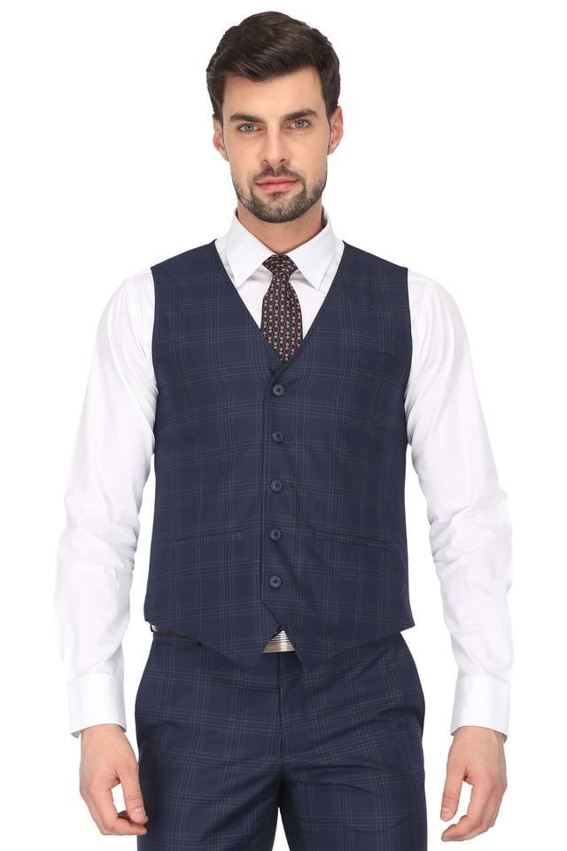 Mens Notched Lapel Checked 4 Piece Suit