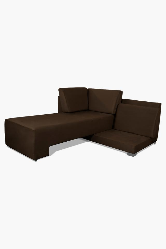Tan Fabric Sectional Sofa Bed (Lounger)