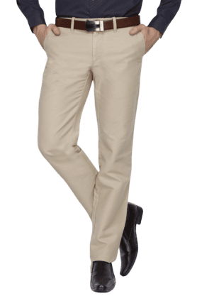 INDIAN TERRAINMens Flat Front Slim Fit Solid Formal Trousers