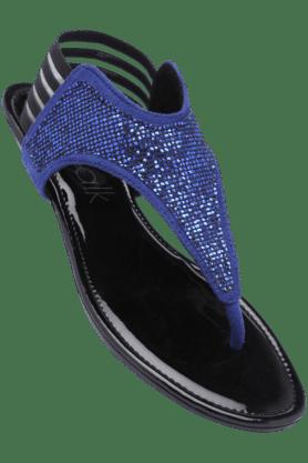 CATWALKWomens Blue Slipon Flat Sandal