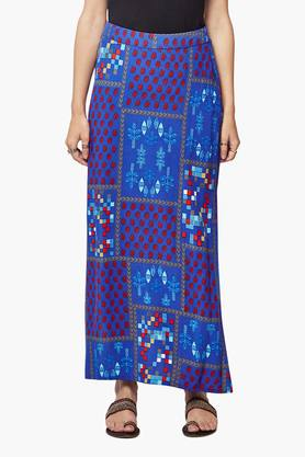GLOBAL DESI Womens Printed Slitted Long Skirt