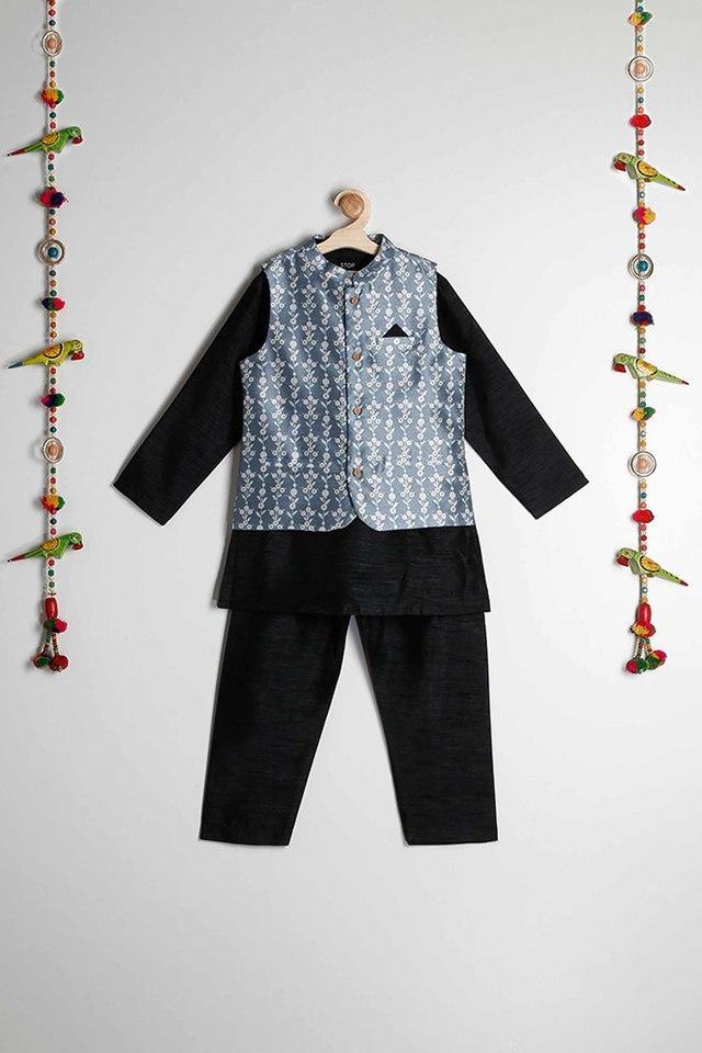 STOP - Black & WhiteKurta Pyjama Jacket Set - Main