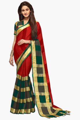ISHIN Womens Poly Cotton Woven Saree - 201628719