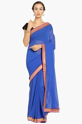 Womens Georgette Solid Saree With Blouse Piece