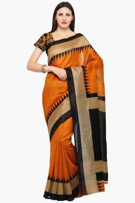 ISHIN Women Bhagalpuri Art Silk Zari Border With Embroidered Blouse Saree - 202528589