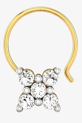 VELVETCASEWomens 18 Karat Yellow Gold Nose Ring (Free Diamond Pendant) - 201065058