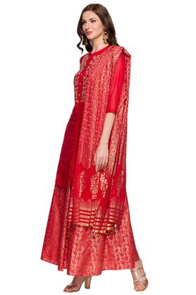 Womens Mandarin Collar Solid Embroidered Palazzo Suit