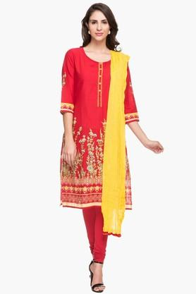 STOP Womens Round Neck Printed Kurta And Churidar Set - 202422016
