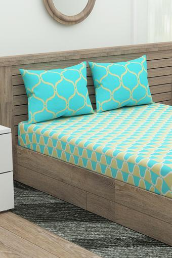 Printed Fitted Bed Sheet with 2 Pillow Cover