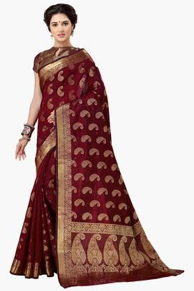 ISHIN Women Banarasi Raw Silk Saree