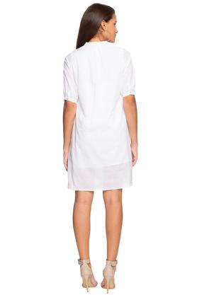 Womens Mandarin Collar Solid Short Dress