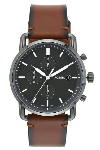 Womens Black Dial Leather Chronograph Watch - ES4505I