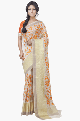 JASHN Womens Embroidered Saree With Blouse Piece - 201313070