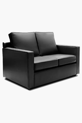 Tarmac Black Leatherette Sofa (2 - Seater)
