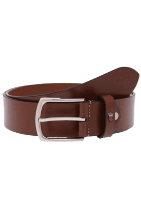 LOUIS PHILIPPE Mens Brown Black Leather Casual Belt