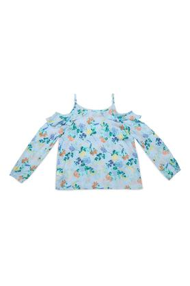 Girls Strappy Neck Printed Ruffle Top