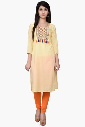 JUNIPER Women Yoke Embroidered Kurta - 201932782