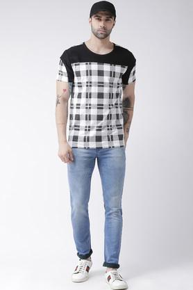 Mens Round Neck Checked T-Shirt
