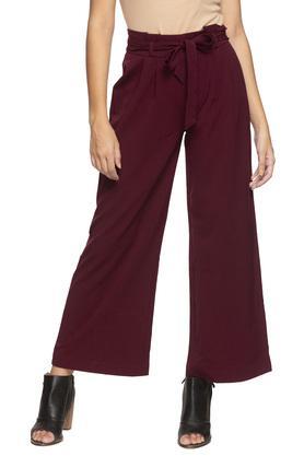 Womens Single Pocket Solid Wide Leg Pants