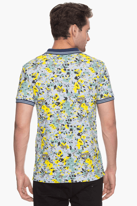 Mens Short Sleeves Slim Fit Printed Polo T-Shirt