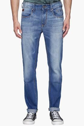 WROGN Mens 5 Pocket Slim Fit Heavy Wash Jeans