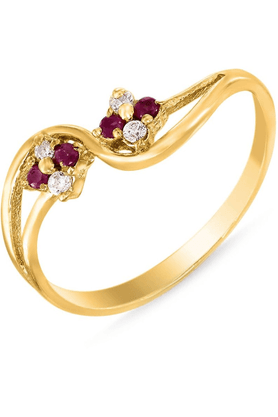 MAHI Mahi Gold Plated Beauty Cluster Ring With Ruby And CZ Stones For Women FR1100301G