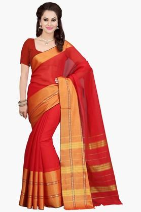 ISHIN Womens Stripe Malgudi Cotton Saree