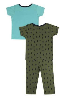 Boys Envelope Neck Printed Top and Pant Set Pack of 3