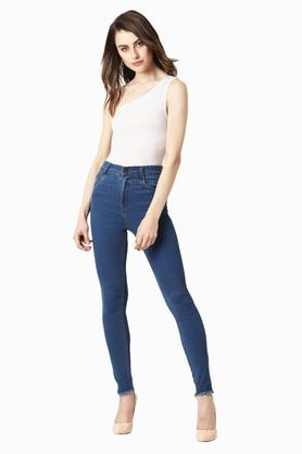 Womens Skinny Fit High Rise Rinse Wash Jeans