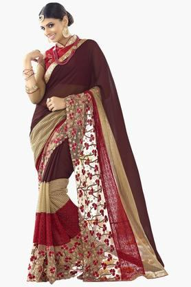 DEMARCA Womens Lace Work Net Saree