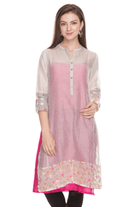 BIBA Women Slim Fit Stripe Kurta