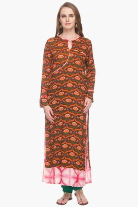 RS BY ROCKY STAR Womens Key Hole Neck Printed Kurta