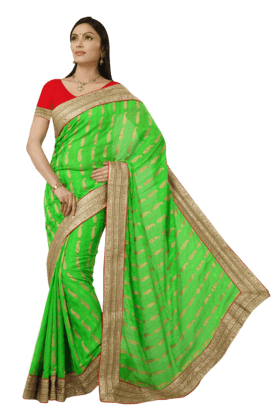 DEMARCAWomens Crepe Jacquard Saree (Buy Any Demarca Product & Get A Pair Of Matching Earrings Free)
