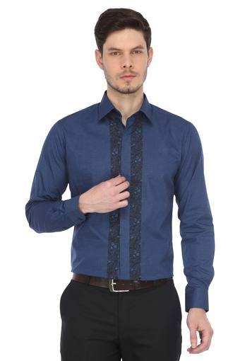 Mens Slim Collar Printed Formal Shirt