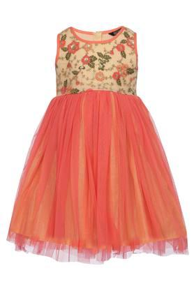 Girls Round Neck Embroidered Layered Gown