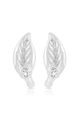 MAHI Rhodium Plated Green Leaf Stud Earrings With Crystal For Women ER1109301R