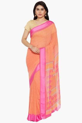 Women Botanical Printed Georgette Saree With Satin Border