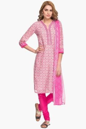 BIBAWomens Notched Neck Printed Churidar Suit - 202179608