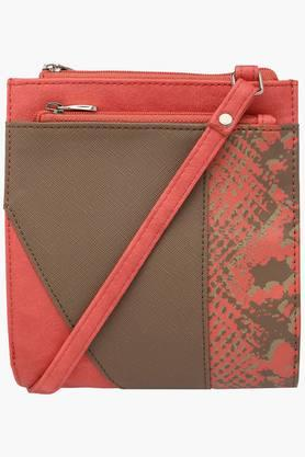 BAGGIT Womens Leather Zipper & Snap Closure Sling Bag