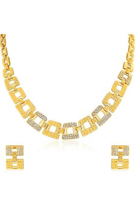 MAHIOviya Gold Plated Shimmering Gemotric Glam Necklace Set For Women NL2103069G