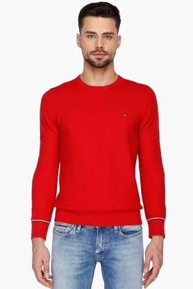 TOMMY HILFIGERMens Full Sleeves Round Neck Solid Sweater - 201541853