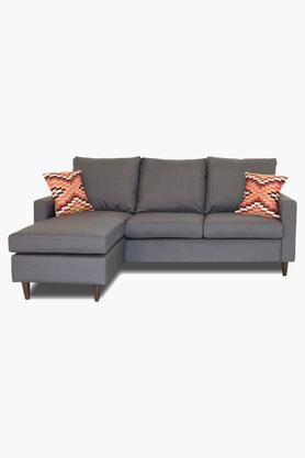 Grey Fabric Sectional Sofa Bed (2 Seater - 1 Lounger)