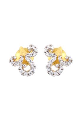 Womens Yellow Gold Studded With American Diamond Earrings GERMD15026901