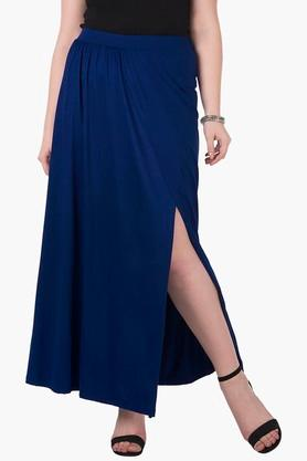 Womens Solid Slitted Wrap Long Skirt