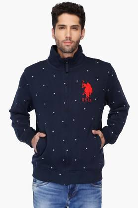 U.S. POLO ASSN. Mens Regular Fit Zip Through Neck Printed Jacket