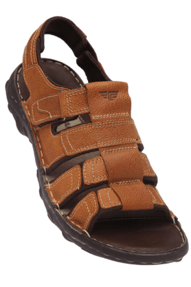 RED TAPE Mens Tan Leather Casual Sandal