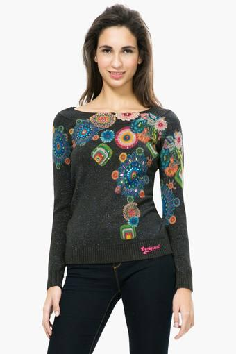 Womens Boat Neck Printed Embellished Sweater